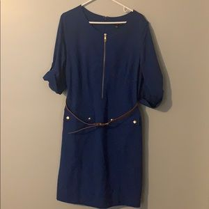 Sharagano Blue Dress Size 14 with Belt